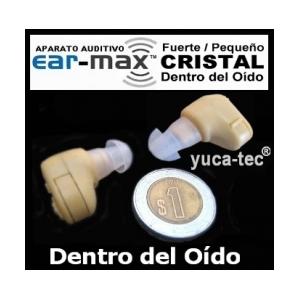 EAR-MAX Fuerte Peque�o CRISTAL Sordera Aparato Auditivo Auxiliar Dentro Del O�do