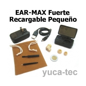EAR MAX� Fuerte RECARGABLE Peque�o Sordera Aparato Auditivo - Dentro Del O�do