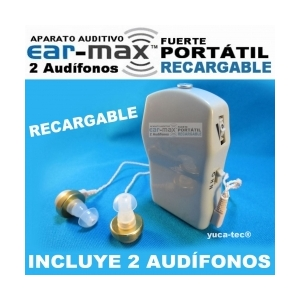 EAR MAX� Fuerte Port�til Aparato Auditivo RECARGABLE con 2 Aud�fonos