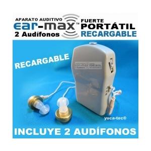 EAR MAX� Fuerte Port�til Aparato Auditivo RECARGABLE con 2 Aud�fonos