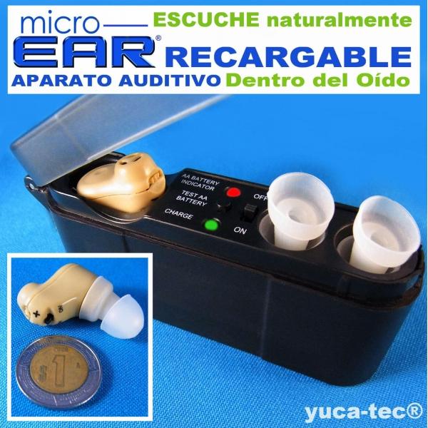 MICRO EAR® Aparato Auditivo RECARGABLE Dentro Del Oído
