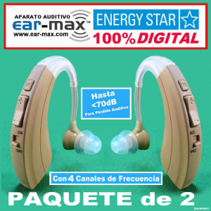 Paquete de 2 EAR MAX� ENERGY STAR - Aparato Auditivo 100% DIGITAL