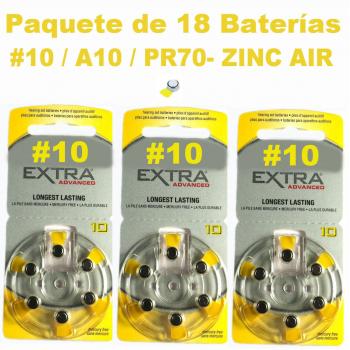 Paquete de 18 pilas bater as 10 a10 pr70 zinc air - Pilas boton tipos ...