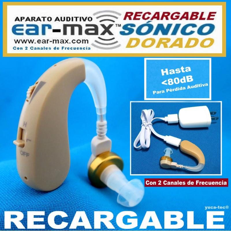 EAR-MAX® SÓNICO DORADO RECARGABLE Aparato Auditivo Con 2 Canales de Frecuencia - Estilo Curveta