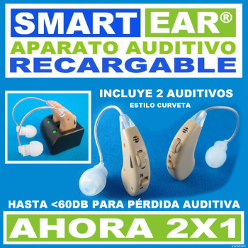 Aparato Auditivo SMART EAR® RECARGABLE 2X1 - Estilo Curveta