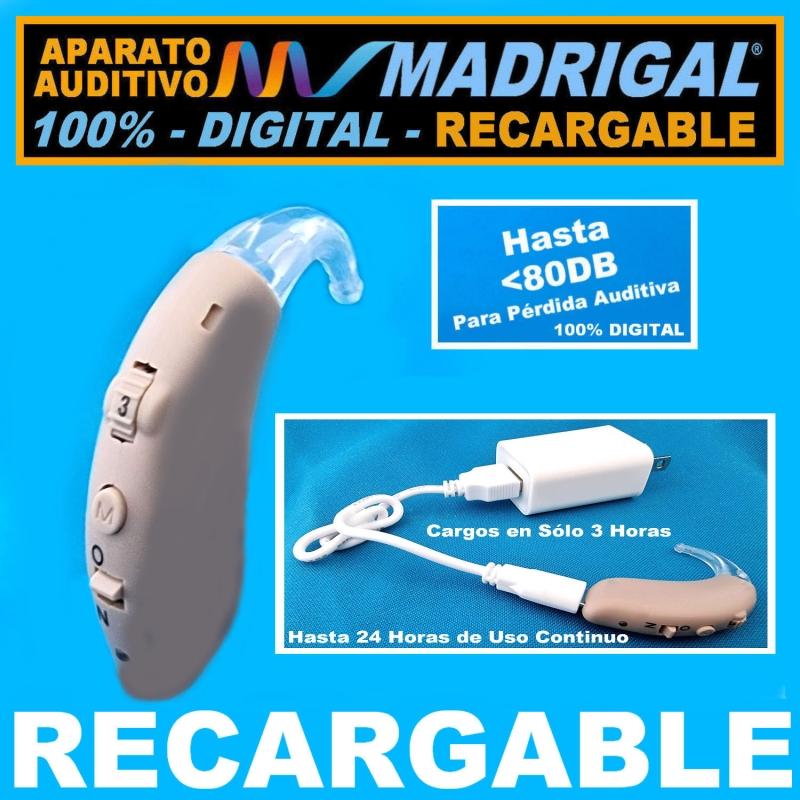 Aparato Auditivo MADRIGAL® RECARGABLE - 100% DIGITAL Con 2 Canales de Frecuencia -Estilo Curveta