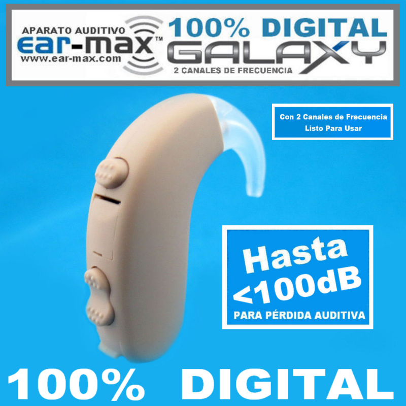 Ear Max® GALAXY - 100% DIGITAL - Aparato Auditivo Auxiliar PARA PÉRDIDA AUDITIVA PROFUNDO - HASTA <100dB