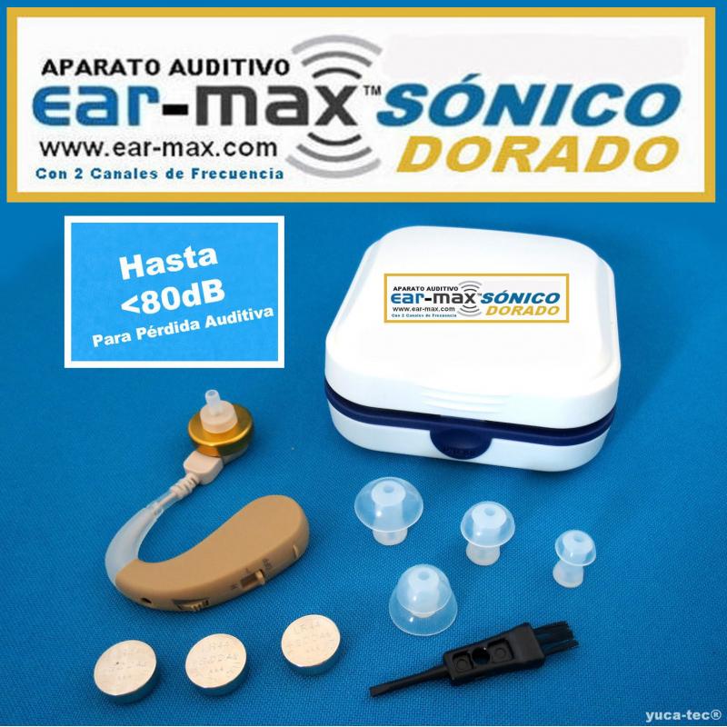 EAR-MAX® SÓNICO DORADO Aparato Auditivo Con 2 Canales de Frecuencia