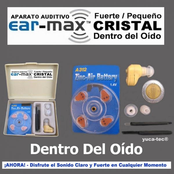 EAR-MAX Fuerte Pequeño CRISTAL Sordera Aparato Auditivo Auxiliar Dentro Del Oído