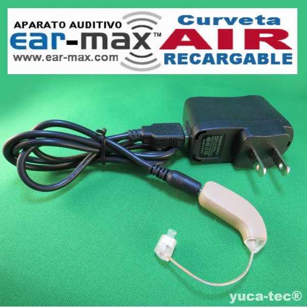 EAR MAX® AIR Aparato Auditivo Curveta RECARGABLE Discreto