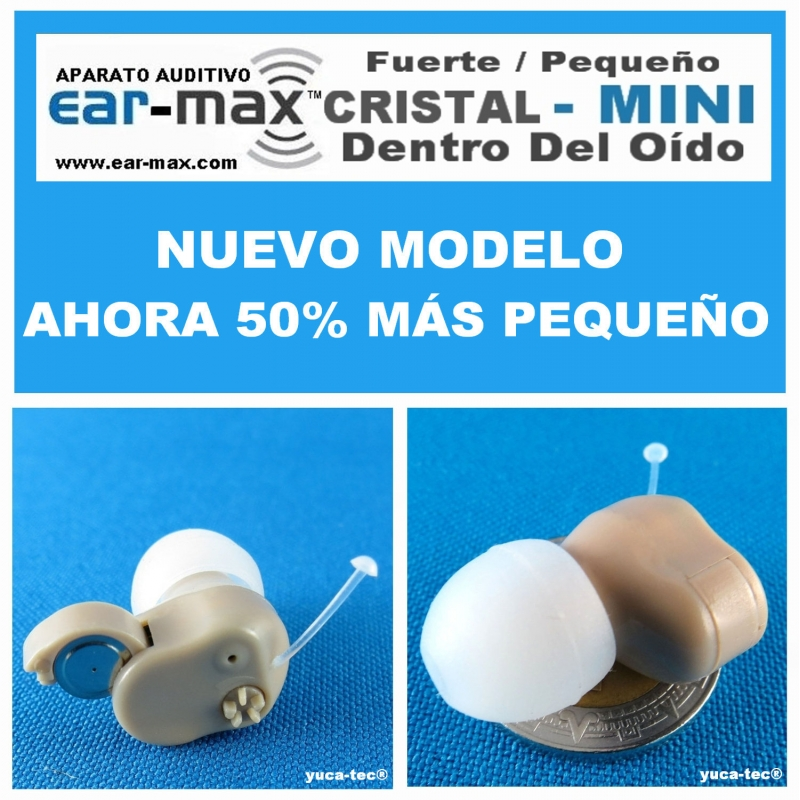 EAR MAX® Cristal MINI - Aparato Auditivo Auxiliar - Dentro Del Oído