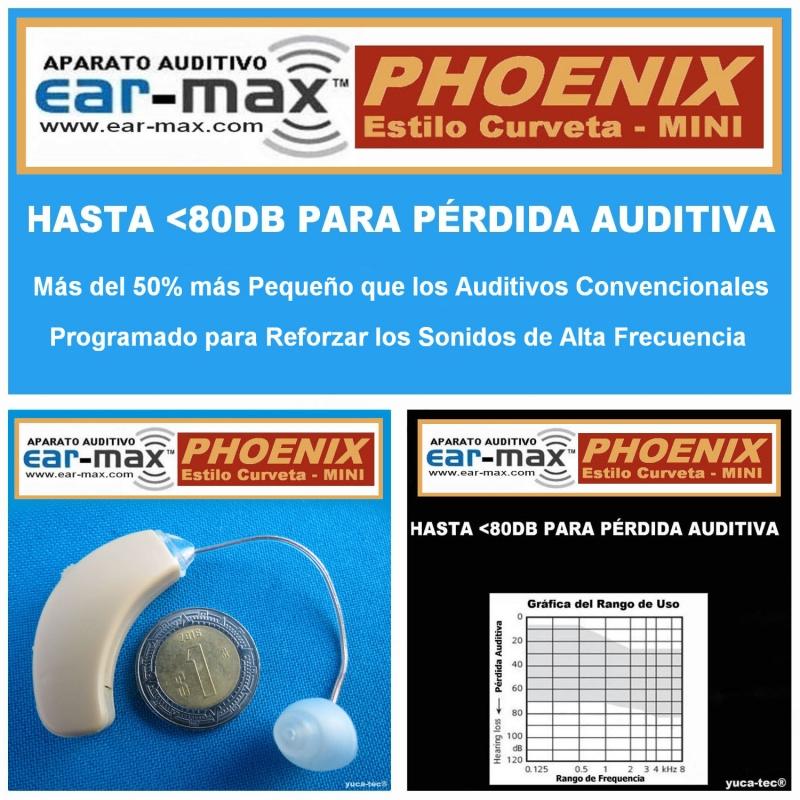 Ear Max® PHOENIX MINI Aparato Auditivo Auxiliar – Estilo Curveta