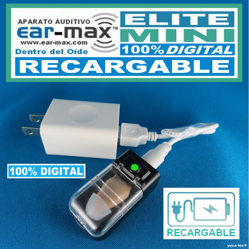 Aparato Auditivo Ear Max® ELITE MINI RECARGABLE 100% DIGITAL – Dentro Del Oído